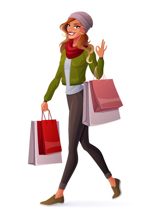 Beautiful young woman with ombre hair walking with shopping bags and showing OK sign hand gesture. Cartoon style vector illustration isolated on white background. Illusztráció