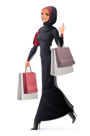 Pi? Kne m? Ode u? Miechni? Te muzu? Ma? Skie Arabskie kobiety w abaya i hijab spaceru z torby na zakupy i pokazano OK znak gestu. Cartoon stylu ilustracji wektorowych samodzielnie na białym tle. Ilustracje wektorowe