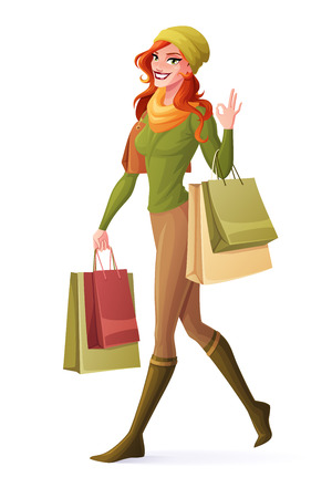 Beautiful smiling redhead woman walking with shopping bags and showing OK sign hand gesture. Cartoon style vector illustration isolated on white background.
