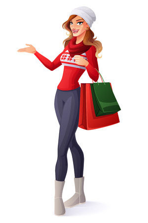 Beautiful smiling young woman in Christmas outfit standing with shopping bags and presenting. Cartoon style vector illustration isolated on white background. Illusztráció