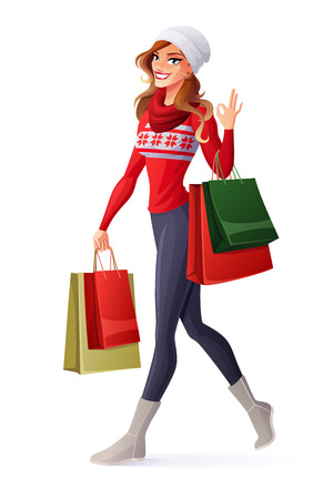 happy shopper: Beautiful smiling young woman in Christmas outfit walking with shopping bags and showing OK sign hand gesture. Cartoon style vector illustration isolated on white background.