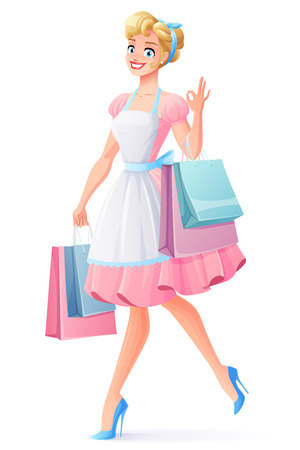 Beautiful smiling housewife in pink dress and apron walking with shopping bags and showing OK sign hand gesture. Cartoon style vector illustration isolated . 일러스트