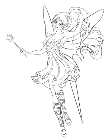 women subtle: Beautiful flying fairy with magic wand. Print for the coloring book. Line art vector illustration. Stock Photo