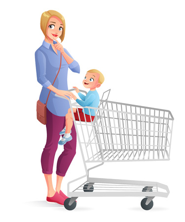Thoughtful young mother with little boy sitting in shopping cart. Cartoon vector illustration isolated on white background. Vectores
