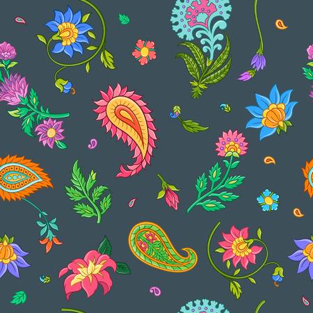Bright floral seamless pattern with indian motives. Vector illustration. Illusztráció