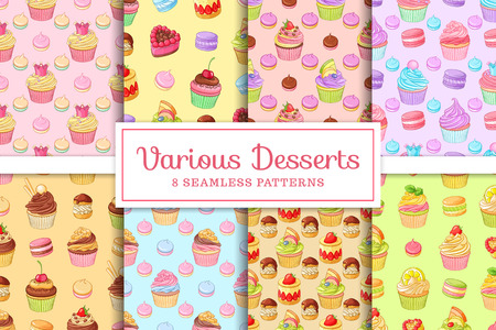 Collection set of 8 seamless various desserts patterns cupcakes, macaroons, profiteroles, meringues and tarts. Vector templates for backgrounds, packaging or greeting cards. Illusztráció