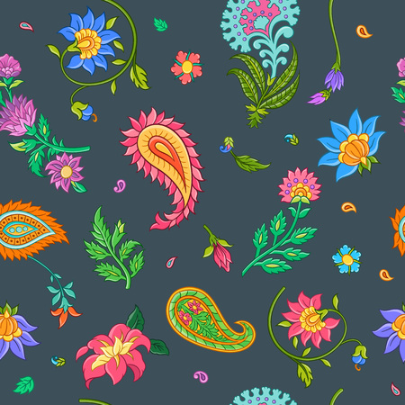 Bright floral seamless pattern with indian motives. Vector illustration. Stock fotó
