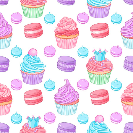 Various cute bright colorful blue, pink and purple desserts cupcakes, meringues and macaroons. Seamless vector pattern on white background.