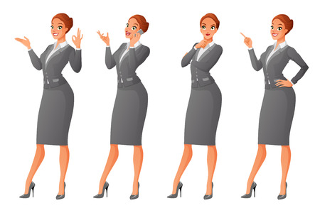 different thinking: Vector set of cartoon business formal dressed woman in different poses isolated on white background: showing ok sign gesture, talking on phone, looking up and thinking, finger pointing up. Stock Photo