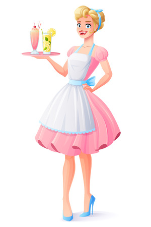 Beautiful housewife in pink dress and apron smiling and holding tray with milkshake and lemonade. Cartoon style vector illustration isolated on white background.