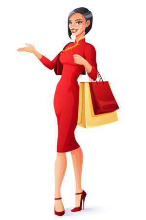 Beautiful Chinese Asian lady in traditional dress standing with shopping bags and presenting. Cartoon style vector illustration isolated on white background.