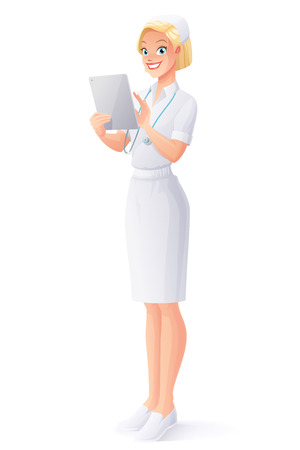 Young smiling cute medical nurse in uniform using a touch pad tablet portable computer. Cartoon style vector illustration isolated on white background.