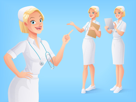 Young smiling medical nurse in white uniform with stethoscope in various poses. A set of cartoon style isolated vector characters. Illustration