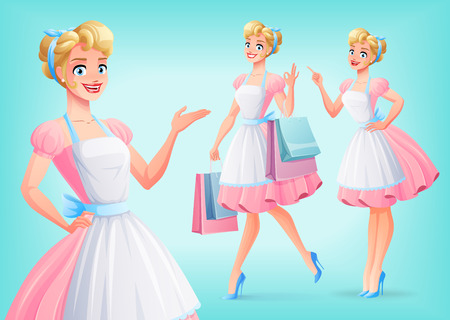 Cute smiling housewife in pink dress and apron in different poses. A set of cartoon style isolated vector characters.