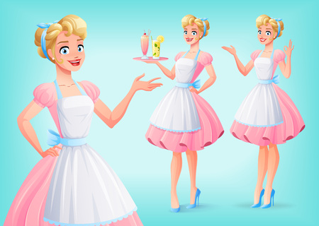 Beautiful housewife in pink dress and apron in various poses. A set of cartoon style isolated vector characters.