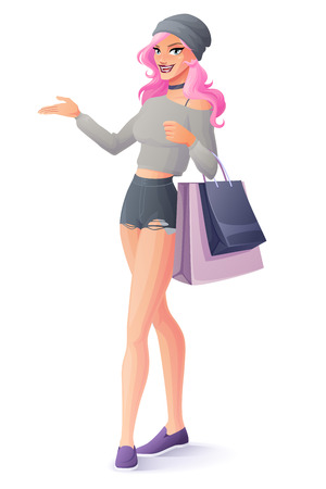 Beautiful pink hair young woman standing with shopping bags and presenting. Cartoon style vector illustration isolated on white background. Illusztráció
