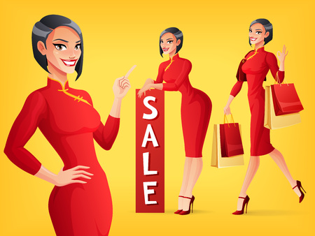 Beautiful smiling Chinese Asian lady in red traditional dress in various poses. A set of cartoon style isolated vector characters. Illusztráció