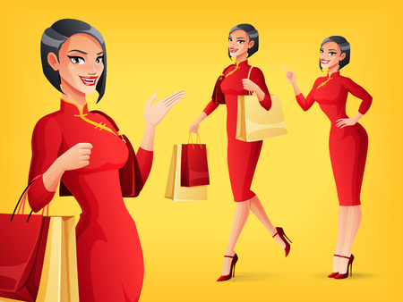 Pretty smiling Chinese Asian woman in red traditional dress in different poses. A set of cartoon style isolated vector characters.