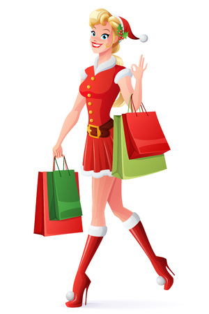 Beautiful smiling blond young woman in red Christmas Santa Claus outfit walking with shopping bags and showing OK sign hand gesture. Cartoon style vector illustration isolated on white background.
