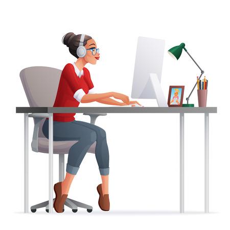 かなりフリーランスのデスクトップ コンピューターとホーム オフィスではたらいている女性。漫画イラストは、白い背景で隔離。