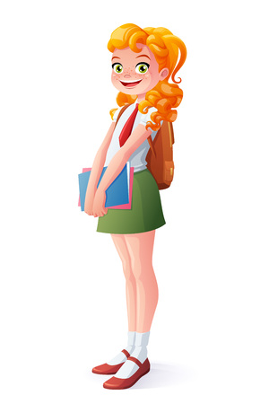 Pretty smiling young school student redhead girl standing with books. Cartoon style illustration isolated on white background.