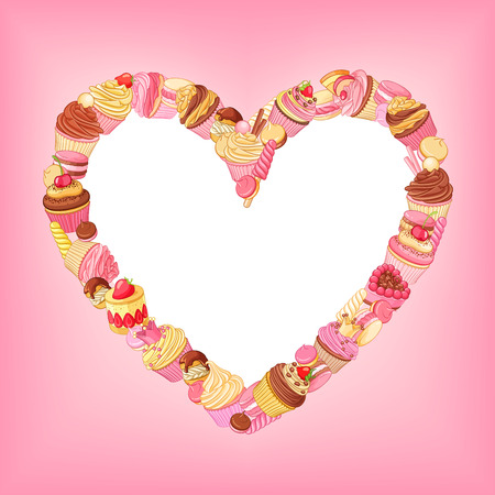 Cupcakes, sweets, macaroons, pastries heart frame on pink background. St.Valentines Day romantic decoration. Illusztráció