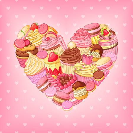 Desserts heart on pink background. St.Valentines Day romantic decoration. 일러스트