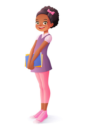 Cute African ethnic smiling young school student girl standing with textbooks. Cartoon style illustration isolated on white background.