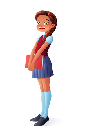 Cute and pretty smiling young school student girl standing with book. Cartoon style illustration isolated on white background.