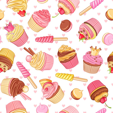 Cupcakes, sweets and pastries seamless pattern with pink hearts. Saint Valentines Day decoration.