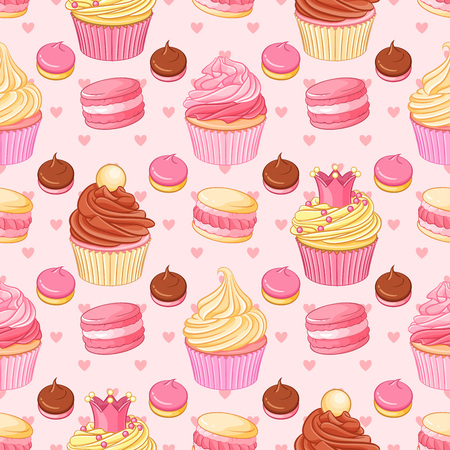 Cupcakes, macaroons, pastries and hearts seamless pattern on pink background. Saint Valentines Day romantic decoration.