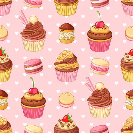 Cupcakes, macaroons, pastries and hearts seamless pattern on pink background. St.Valentines Day romantic decoration.