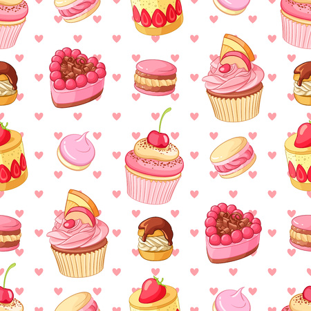 Cupcakes, sweets and pastries seamless pattern with pink hearts. St.Valentines Day romantic decoration.