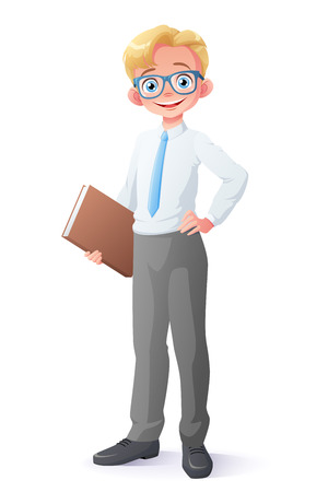 Cute and clever smiling young school student boy with eyeglasses holding book. Cartoon style illustration isolated on white background. 일러스트