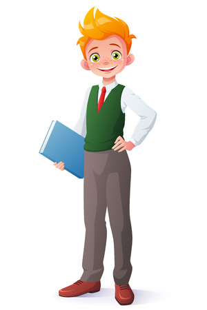 Cute smiling young student redhead boy in school uniform standing with book. Cartoon style illustration isolated on white background.