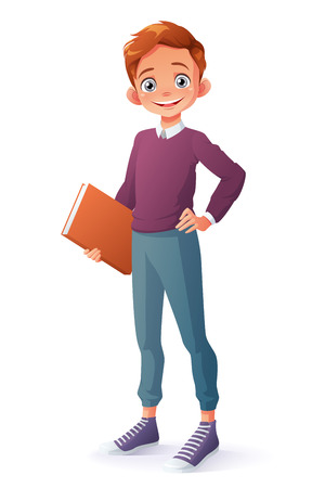Cute and clever smiling young school student boy holding book. Cartoon style illustration isolated on white background.