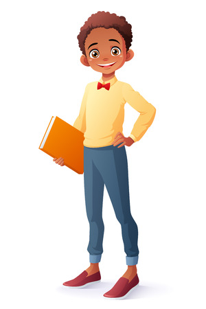 Cute and clever smiling young African ethnic school student boy holding book. Cartoon style illustration isolated on white background.