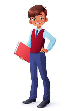 Cute and clever smiling young student boy in school uniform standing with book. Cartoon style character isolated on white background. 일러스트