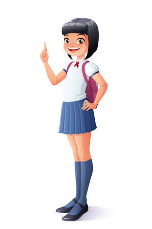 Cute Asian smiling young school student girl finger pointing up with idea. Cartoon style illustration isolated on white background.