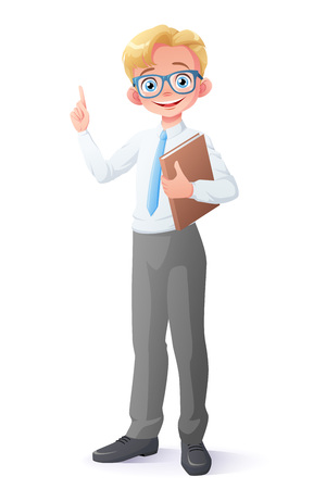 Cute and clever smiling young school student boy with eyeglasses holding book and finger pointing up. Cartoon style  character isolated on white background.