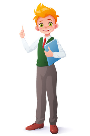 Cute smiling young student redhead boy in school uniform standing with book got the idea and index finger pointing up. Cartoon style  illustration isolated on white background. Illusztráció