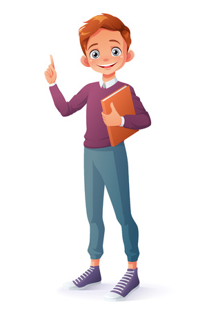 Cute clever smiling young school student boy holding book got the idea and index finger pointing up. Cartoon style vector character isolated on white background.