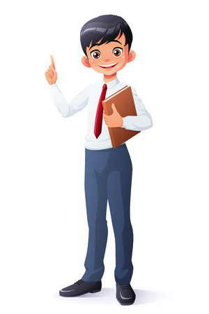 Cute and clever smiling young Asian school student boy with book finger pointing up with idea. Cartoon style vector illustration isolated on white background.