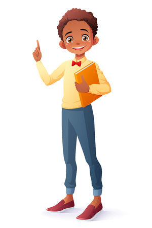 Cute and clever smiling young African ethnic school student boy holding book got the idea and index finger pointing up. Cartoon style vector illustration isolated on white background. 일러스트