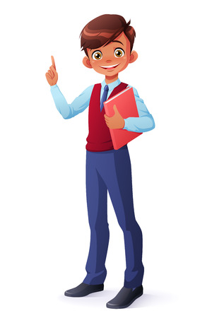 Cute and clever smiling young student boy in school uniform standing with book got the idea and index finger pointing up. Cartoon style vector character isolated on white background.