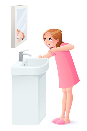 Cute young girl brushing her teeth next to mirror. Cartoon style vector illustration isolated on white background. 일러스트