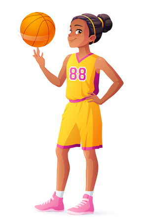 Joven Africano joven jugador de baloncesto linda chica haciendo girar la bola en su dedo. ilustración vectorial de dibujos animados aislado en el fondo blanco. Foto de archivo - 69810499