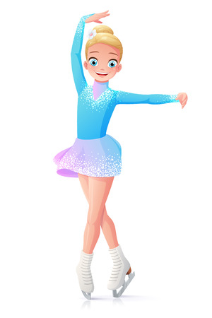Cute smiling young little girl figure skating on ice. Cartoon vector illustration isolated on white background. Illustration