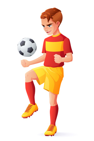 Cute young football or soccer player boy in red uniform juggling with ball. Cartoon vector illustration isolated on white background.