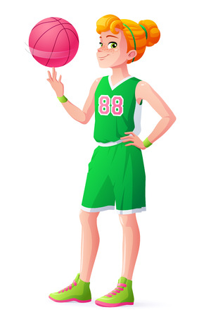 Cute redhead young basketball player girl in green uniform spinning the ball on her finger. Cartoon vector illustration isolated on white background. 일러스트